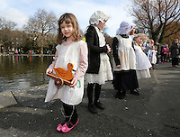 Four year Zoe Roberts from Dublin pictured before the Children's Duck Parade  in Dublin's St Stephens Green . Picture Credit:Frank Mc Grath<br /> 28/3/16