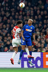 Lisandro Martínez #21 of Ajax and Deyverson #14 of Getafe in action during the Europa League match R32 second leg between Ajax and Getafe at Johan Cruyff Arena on February 27, 2020 in Amsterdam, Netherlands
