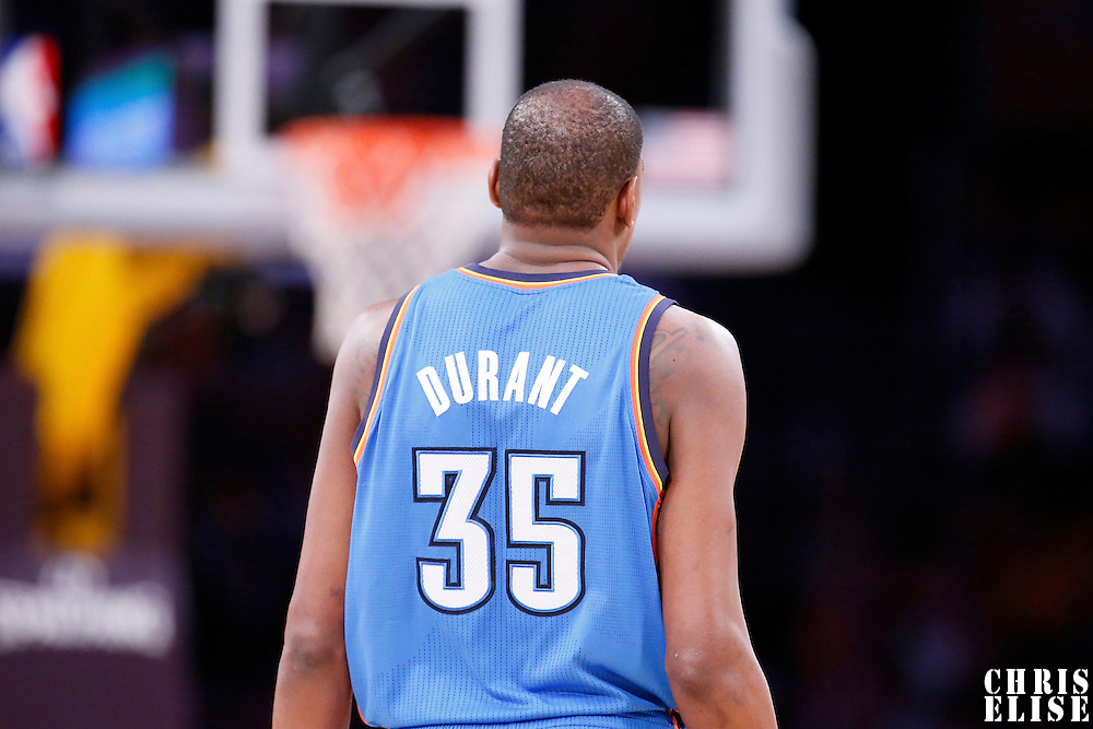 09 March 2014: Oklahoma City Thunder small forward Kevin Durant (35) is seen during the Los Angeles Lakers 114-110 victory over the Oklahoma City Thunder at the Staples Center, Los Angeles, California, USA.