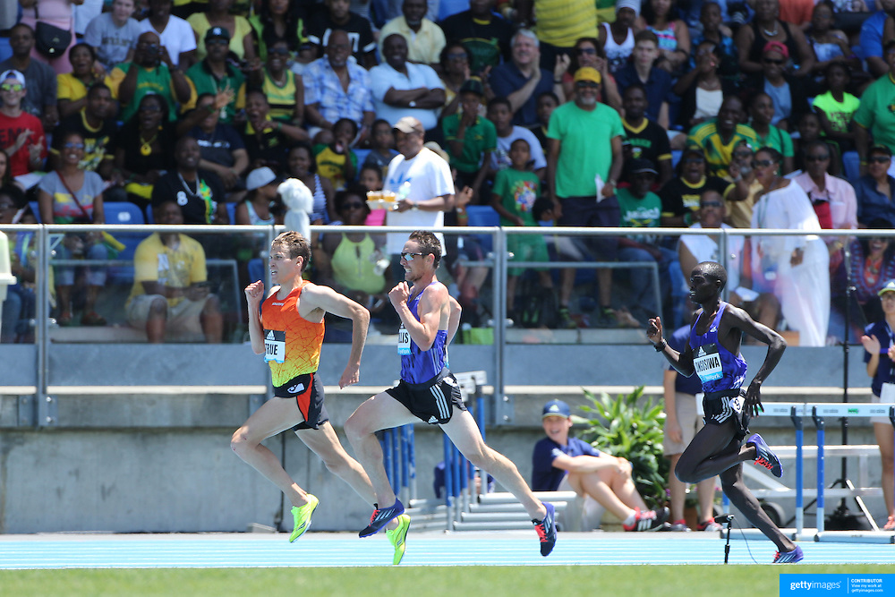Ben True, (left), USA, winning the Men's 5000m competition from Nick Willis, New Zealand during the Diamond League Adidas Grand Prix at Icahn Stadium, Randall's Island, Manhattan, New York, USA. 13th June 2015. Photo Tim Clayton