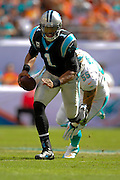 Carolina Panthers quarterback Cam Newton (1) runs upfield during the Panthers game against the Miami Dolphins at SunLife Stadium on Nov. 24, 2013 in Miami Gardens, Florida. <br /> <br /> ©2013 Scott A. Miller