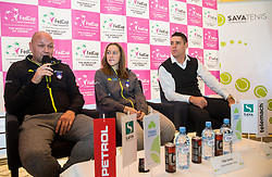 Andrej Krasevec, Kaja Juvan and Gregor Krusic during press conference of Slovenian Women Tennis Team before FedCup Competition 2018, on January 25, 2018 in Tennis Centre Breskvar, Ljubljana, Slovenia.  Photo by Vid Ponikvar / Sportida