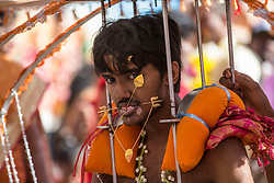 © Licensed to London News Pictures. 03/02/2015. Ipoh, Malaysia. A devotee with metal sticks pieced through his mouth carrying a kavadi arrives at Kallumalai Murugan Temple in Ipoh, Malaysia, during the Thaipusam Festival,  Tuesday, Feb. 3, 2015. Photo credit : Sang Tan/LNP