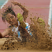 Lee Hyeonjeong of South Korea compete in the Women's Triple Jump Final at the Nanjing Youth Olympic Games 2014 in Nanjing, China, 25 August 2014. The Nanjing Youth Olympic Games 2014 run from 16 to 28 August 2014.