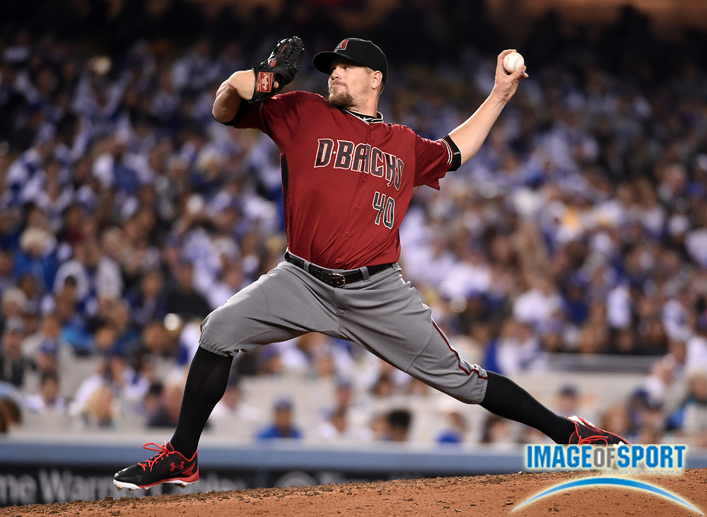 Apr 13, 2016; Los Angeles, CA, USA; Arizona Diamondbacks relief pitcher Andrew Chafin (40) delivers a pitch against the Los Angeles Dodgers during a MLB game at Dodger Stadium.