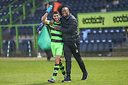Debutant goalscorer Forest Green Rovers Omar Bugiel(11) acknowledges the fans at the end of the match with Forest Green Rovers Shamir Mullings(18) during the Vanarama National League match between Forest Green Rovers and Boreham Wood at the New Lawn, Forest Green, United Kingdom on 11 February 2017. Photo by Shane Healey.
