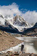Cerro Torre (3,128 m or 10,262 ft elevation) and Laguna Torre (634 m or 2080 ft) in Los Glaciares National Park, near El Chalten mountain resort in Santa Cruz Province, Argentina, Patagonia, South America. We hiked 21 km (13 miles) round trip with 730 m (2400 ft) cumulative gain to Laguna Torre and Mirador Maestri. Los Glaciares National Park and Reserve are honored on UNESCO's World Heritage List.