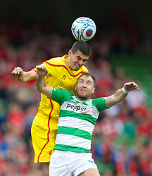 DUBLIN, REPUBLIC OF IRELAND - Wednesday, May 14, 2014: Liverpool's Conor Coady in action against Shamrock Rovers during a postseason friendly match at Lansdowne Road. (Pic by David Rawcliffe/Propaganda)