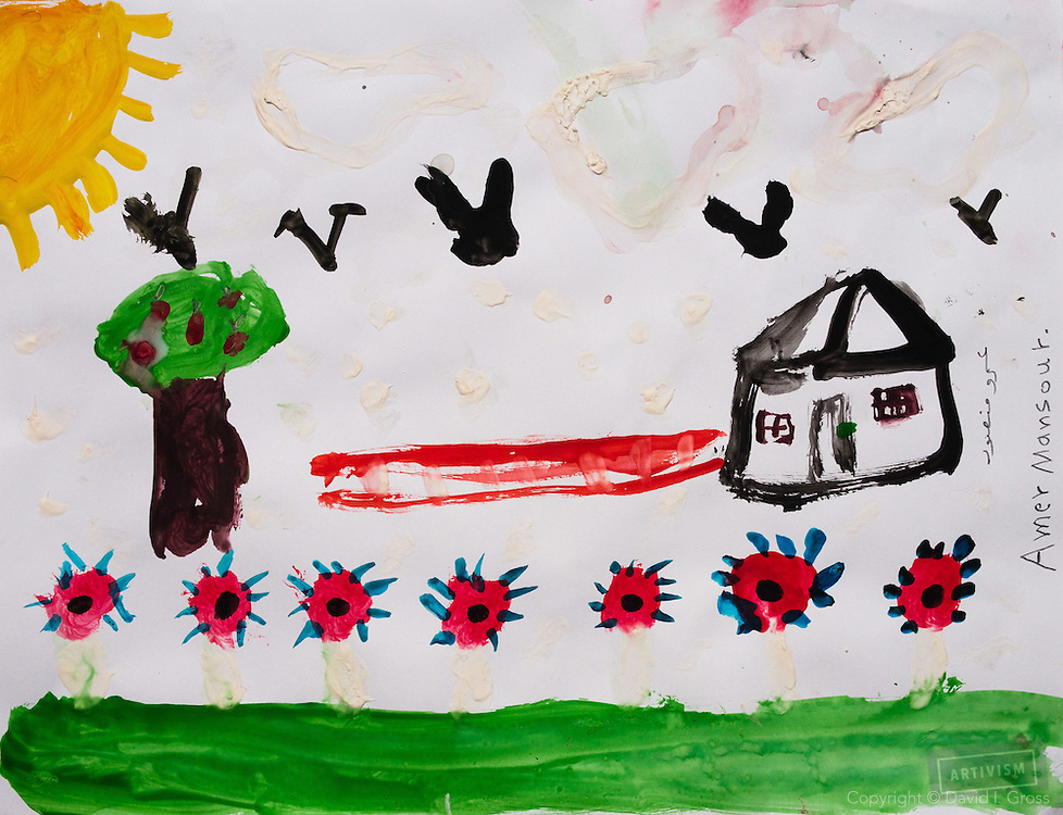A peaceful house with flowers, trees, birds, and the sun in the sky. Drawing by 10-12 yr old boy, from art session with the neighborhood boys--not from the school. Topic for session: what do you dream about or hope for?