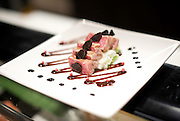 Chef Toshitaka Kasseki serves up Toro aburi salad featuring bluefin tuna belly, leeks and truffles with a red miso sauce at The Barn restaurant  in Hirafu in the Niseko ski region of Hokkaido, Japan on Feb. 6 2010. Kasseki is the former head chef at the Hong Kong Marriott.