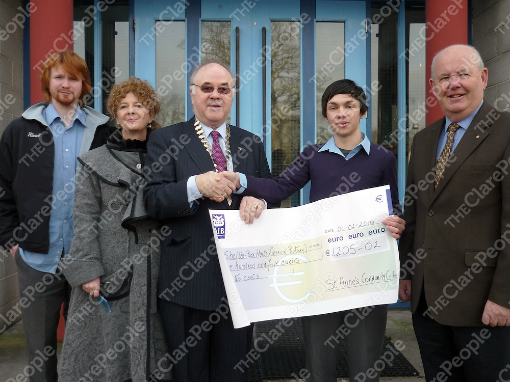 St. Anne&Otilde;s Community College, Killaloe, organised a fundraiser to sponsor two shelter boxes to Haiti. Pictured at the Presentation of a cheque at the school are :- (L-R) Fintan O&Otilde;Grady, Veronica Sheehan, Tony Brazil, President of Limerick Thomond Rotary Club; Mark O&Otilde;Connor, President of Students Council and Brian McCarthy, Limerick Thomond Rotary Club.<br /> St. Anne&rsquo;s Community College, Killaloe, organised a fundraiser to sponsor two shelter boxes to Haiti. Pictured at the Presentation of a cheque at the school are :- (L-R) Fintan O&rsquo;Grady, Veronica Sheehan, Tony Brazil, President of Limerick Thomond Rotary Club; Mark O&rsquo;Connor, President of Students Council and Brian McCarthy, Limerick Thomond Rotary Club.