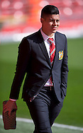 Marcos Rojo of Manchester United arrives at the stadium before the Barclays Premier League match at Anfield, Liverpool<br /> Picture by Russell Hart/Focus Images Ltd 07791 688 420<br /> 22/03/2015