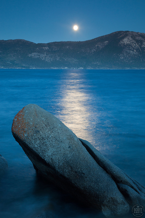 """Full Moon Over Lake Tahoe 11"" - These boulders and full moon were photographed at Crystal Point in Crystal Bay, Lake Tahoe."