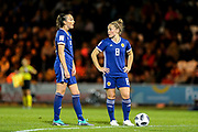 Kim Little (#8) of Scotland and Caroline Weir (#9) of Scotland stand over a free kick during the 2019 FIFA Women's World Cup UEFA Qualifier match between Scotland Women and Switzerland at the Simple Digital Arena, St Mirren, Scotland on 30 August 2018.
