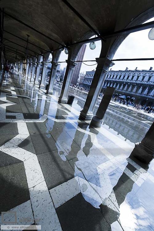 Partly flooded Piazza San Marco, Venice, Venetia, Italy