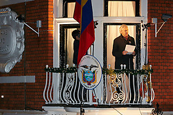 © Licensed to London News Pictures.  20/12/2012. LONDON, UK. Wikileaks founder Julian Assange (pictured)  gives an address from a balcony of the wikileaks founder. He has been in the embassy for 6 months avoiding extradition to Sweden.  Photo credit :  Cliff Hide/LNP