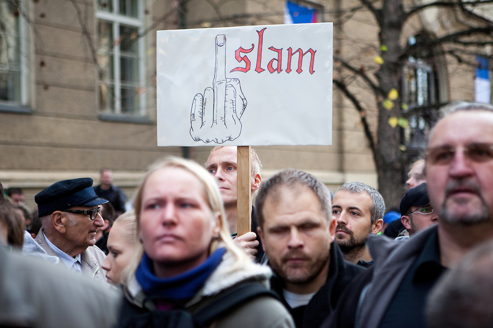 A sign against Islam during an anti-Islam rally in Prague. Czech Republic celebrates that day the 26th anniversary of the Velvet Revolution which took place in 1989.
