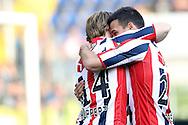 19-05-2016 VOETBAL:NAC BREDA - WILLEM II:BREDA <br /> Guus Joppen van Willem II feliciteert doelpuntenmaker Guus Hupperts van Willem II <br /> <br /> Foto: Geert van Erven