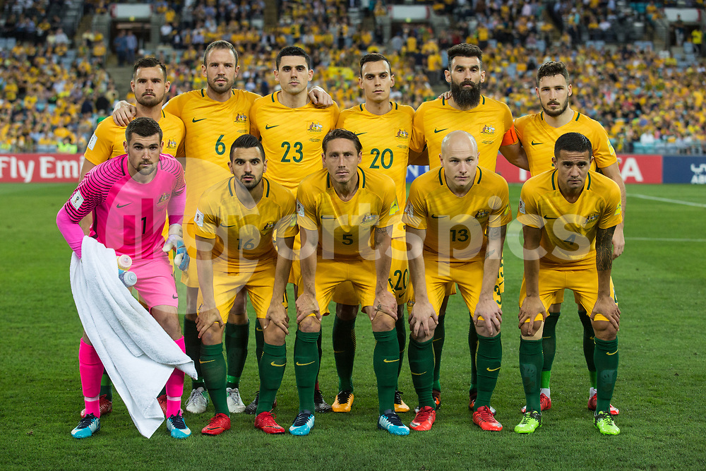 Australian Team during the 2018 FIFA World Cup CONCACAF/AFC Intercontinental Play-Off match between Australia and Honduras at Stadium Australia, Sydney, Australia on 15 November 2017. Photo by Peter Dovgan.