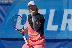 February 22, 2018 - Delray Beach, FL, United States - Delray Beach, FL - February 22: Denis Shapovalov (CAN) plays Jared Donaldson (USA) at the 2018 Delray Beach Open held at the Delray Beach Tennis Center in Delray Beach, Florida.   Credit: Andrew Patron/Zuma Wire (Credit Image: © Andrew Patron via ZUMA Wire)