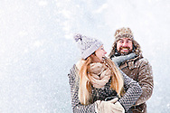 Couple, Happiness, Snowfall, Fun, Embracing