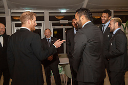 The Duke of Sussex (meets members of the current England Rygby squad during a reception in aid of England Rugby's Try For Change programme and the Jonny Wilkinson Foundation at the Kensington Palace Pavilion in London.