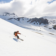 Jökull Bergmann, ski guide and owner of Bergmenn Mountain Guides, in Hrafnfjörður, Iceland.<br /> <br /> Images from an ski touring adventure to Jökulfirðir, a series of fjords in west Iceland, with Bergmenn Mountain Guides and Borea Adventures. The tour takes skiers from fjord to fjord with the sail boat Aurora as a overnight base.