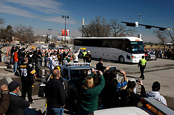 Feb 6, 2011; Arlington, TX, USA; Members of the Pittsburgh Steelers arrive on a team bus before Super Bowl XLV against the Green Bay Packers at Cowboys Stadium.  Green Bay defeated Pittsburgh 31-25.