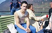 Gavin on a boat in Switzerland, 1980s.