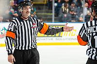 KELOWNA, BC - NOVEMBER 20:  Referee Kyle Kowalski stands on the ice at the Kelowna Rockets against the Victoria Royals at Prospera Place on November 20, 2019 in Kelowna, Canada. (Photo by Marissa Baecker/Shoot the Breeze)