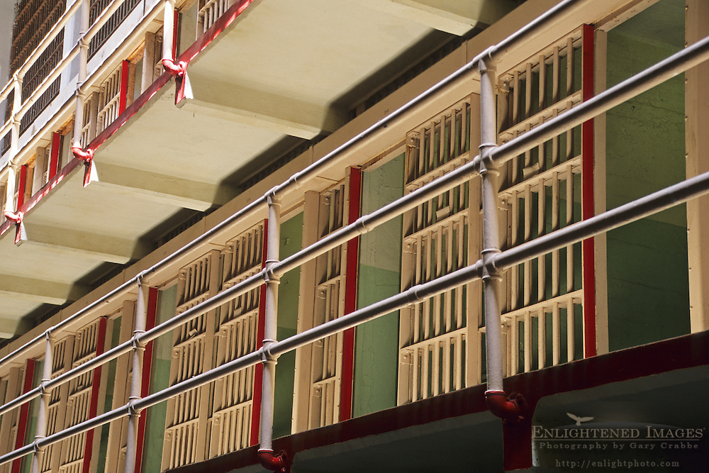 Prisoner jail cell blocks on Alcatraz, San Francisco, California