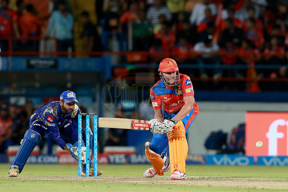 James Faulkner of GL plays a shot during match 35 of the Vivo 2017 Indian Premier League between the Gujarat Lions and the Mumbai Indians  held at the Saurashtra Cricket Association Stadium in Rajkot, India on the 29th April 2017<br /> <br /> Photo by Rahul Gulati - Sportzpics - IPL