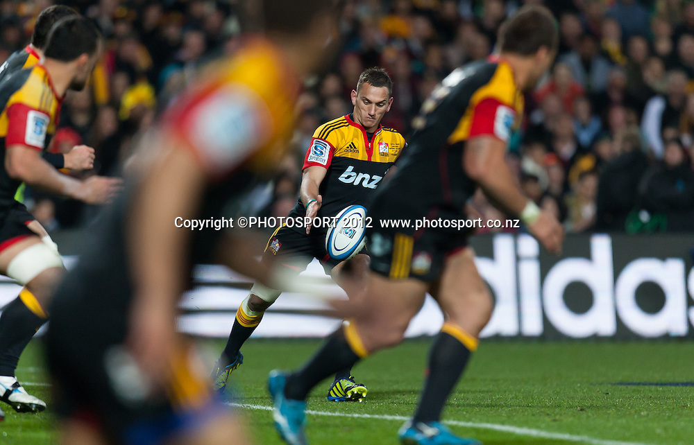 Chiefs' Aaron Cruden kicks during the Super Rugby Semi Final won by the Chiefs (20-17) against the Crusaders at Waikato Stadium, Hamilton, New Zealand, Friday 27 July 2012. Photo: Stephen Barker/Photosport.co.nz