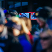 PBR sponsorship flags drapped throughout crowd at the 2015 Gelande Quaffing Championships.