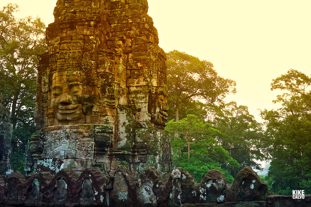 Ancient ruins of Bayon Temple, Angkor, Cambodia.