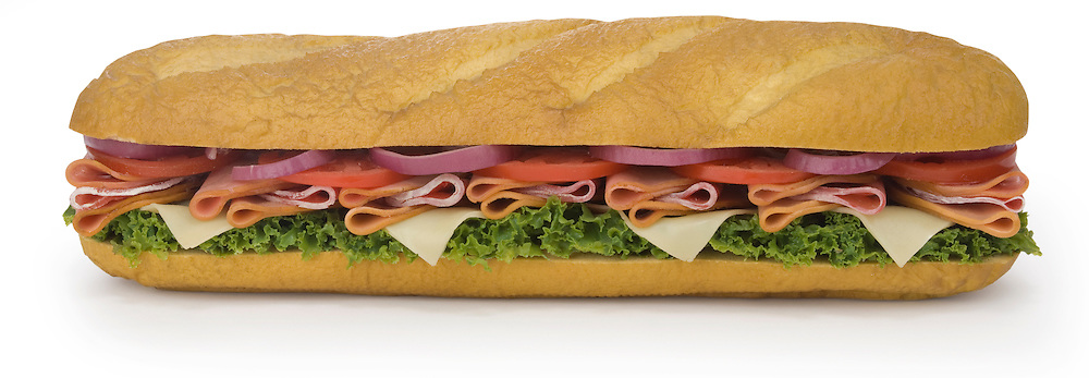 Large sandwich on a french roll isolated on white with a clipping path
