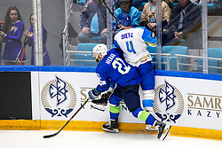 Andrej Hebar of Slovenia vs Darren Dietz of Kazakhstan during ice hockey match between Slovenia and Kazakhstan at IIHF World Championship DIV. I Group A Kazakhstan 2019, on April 29, 2019 in Barys Arena, Nur-Sultan, Kazakhstan. Photo by Matic Klansek Velej / Sportida