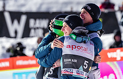 16.03.2019, Vikersundbakken, Vikersund, NOR, FIS Weltcup Skisprung, Raw Air, Vikersund, Teambewerb, im Bild Timi Zajc (SLO), Domen Prevc (SLO), Anze Semenic (SLO) // Timi Zajc of Slovenia Domen Prevc of Slovenia Anze Semenic of Slovenia during the team competition of the 4th Stage of the Raw Air Series of FIS Ski Jumping World Cup at the Vikersundbakken in Vikersund, Norway on 2019/03/16. EXPA Pictures © 2019, PhotoCredit: EXPA/ JFK