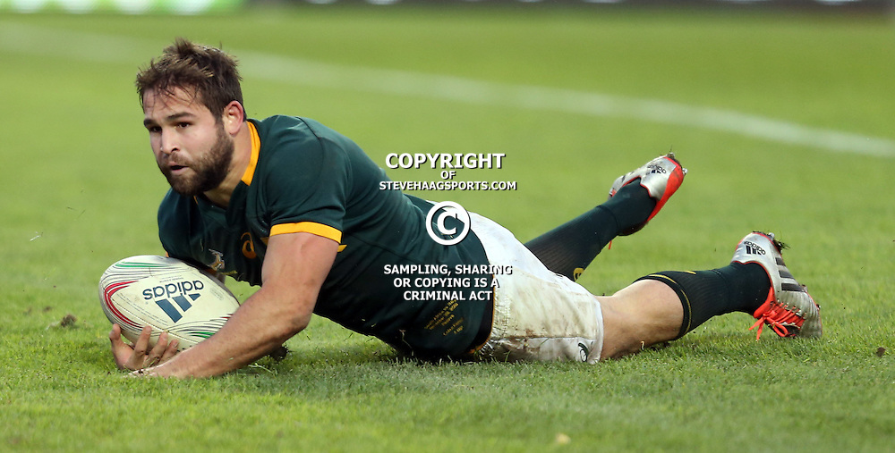 PADUA, ITALY - NOVEMBER 22: Cobus Reinach of South Africa over for the 2nd try during the Castle Lager Outgoing Tour match between Italy and South African at Stadio Euganeo on November 22, 2014 in Padua, Italy. (Photo by Steve Haag/Gallo Images)