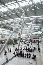 Interior of passenger Terminal building at Dusseldorf International airport in Germany
