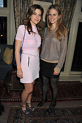 Left to right, FRANCESCA VERSACE and ANNA GAVAZZI at a dinner hosted by Edward Taylor and Alexandra Meyers in association with Johnnie Walker Blue Label held at Mark's Club, 46 Charles Street, London W1 on 26th April 2012.