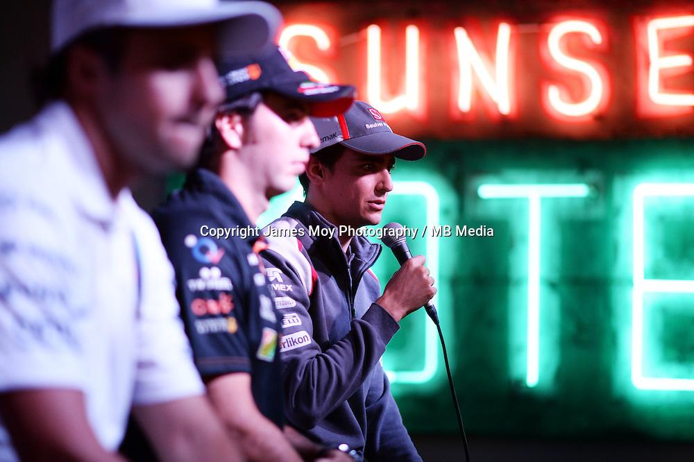 (L to R): Felipe Massa (BRA) Williams; Sergio Perez (MEX) Sahara Force India F1; and Esteban Gutierrez (MEX) Sauber at the Fans' Forum.<br /> United States Grand Prix, Wednesday 29th October 2014. Circuit of the Americas, Austin, Texas, USA.