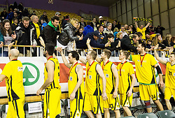 Players of KK Lastovka with silver medals celebrate with fans after the basketball match between KK Krka and KK Lastovka in Final of Spar Cup 2015/16, on February 21, 2016 in Hala Tivoli, Ljubljana, Slovenia. KK Krka won 66:33 against KK Lastovka and became Slovenian Cup Champion 2016. Photo by Vid Ponikvar / Sportida