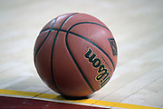Detailed view of Wilson basketball with NIT logo during an NCAA college basketball game between the Southern California Trojans and the Western Kentucky Hilltoppers in the second round of the NIT tournament in Los Angeles, Monday, Mar 19, 2018.