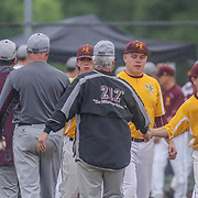 Caravel Academy and St. Elizabeth players shake hands after a second round of the DIAA baseball state tournament game between #4 Caravel Academy and #15 St. Elizabeth Saturday May 27, 2017, at Caravel Academy in Bear Delaware.