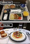 Airline Food: Economy Vs. First Class <br /> <br /> What used to be a woman's size 12 in 1968 is a woman's size 4 today; what used to be third-class is economy-class today. What changed? We've grown more sensitive: I'm not overweight, I still fit into a size 12. I'm not a third-class passenger, I'm a price conscious individual that rides in economy-class.<br /> Despite the name games, airline food hasn't changed much. Economy class meals still come in a wrapper, and business or first-class meals come with real cutlery. This list shows the sometimes striking difference between what the different classes eat.<br /> <br /> Photo shows: Singapore Airlines<br /> ©Exclusivepix Media