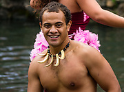 "Samoan dancers in the Canoe Pageant, ""Rainbows of Paradise."" The Polynesian Cultural Center (PCC) is a major theme park and living museum, in Laie on the northeast coast (Windward Side) of the island of Oahu, Hawaii, USA. The PCC first opened in 1963 as a way for students at the adjacent Church College of Hawaii (now Brigham Young University Hawaii) to earn money for their education and as a means to preserve and portray the cultures of the people of Polynesia. Performers demonstrate Polynesian arts and crafts within simulated tropical villages, covering Hawaii, Aotearoa (New Zealand), Fiji, Samoa, Tahiti, Tonga and the Marquesas Islands. The Rapa Nui (Easter Island) exhibit features seven hand-carved moai (stone statues). The PCC is run by the Church of Jesus Christ of Latter-day Saints (LDS Church). For this photo's licensing options, please inquire."