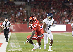 September 16, 2017 - Houston, TX, USA - Houston Cougars wide receiver Courtney Lark (9) makes a reception during the third quarter of the college football game between the Houston Cougars and the Rice Owls at TDECU Stadium in Houston, Texas. (Credit Image: © Scott W. Coleman via ZUMA Wire)