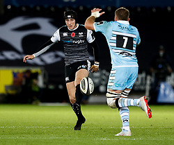 Sam Davies of Ospreys kicks ahead<br /> <br /> 2nd November, Liberty Stadium , Swansea, Wales ; Guinness pro 14's Ospreys Rugby v Glasgow Warriors ;  <br /> <br /> Credit: Simon King/News Images<br /> <br /> Photographer Simon King/Replay Images<br /> <br /> Guinness PRO14 Round 8 - Ospreys v Glasgow Warriors - Friday 2nd November 2018 - Liberty Stadium - Swansea<br /> <br /> World Copyright © Replay Images . All rights reserved. info@replayimages.co.uk - http://replayimages.co.uk