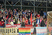 White hawk fans before the The FA Cup 2nd Round Replay match between Whitehawk FC and Dagenham and Redbridge at the Enclosed Ground, Whitehawk, United Kingdom on 16 December 2015. Photo by Phil Duncan.